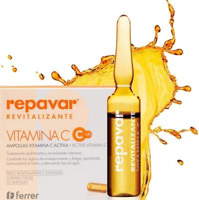 Repavar Revitalizante Active Vitamina C Pura 5.5% - Tratamiento Reafirmante y Revitalizante Intensivo 20 Ampollas Monodosis, Transparente